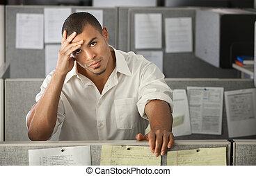 ufficio, maschio, ha lavorato troppo, lavoratore