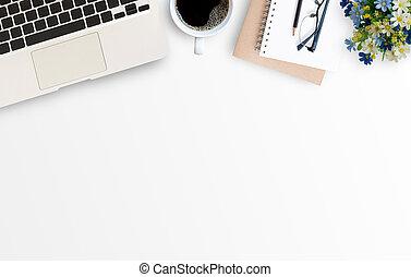 ufficio, minimo, bianco, computer, laptop, tavola, scrivania