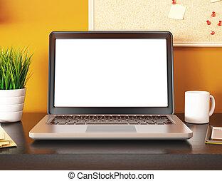 ufficio, mockup, laptop, screen., vuoto, 3d