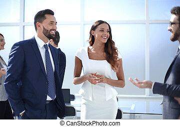 ufficio., moderno, gruppo, persone affari
