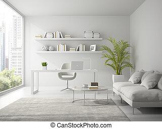 ufficio, moderno, interpretazione, disegno, interno, bianco, 3d