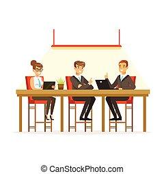 ufficio, persone affari, idee, illustrazione, coworking, vettore, esperienza, scambiare, riunione