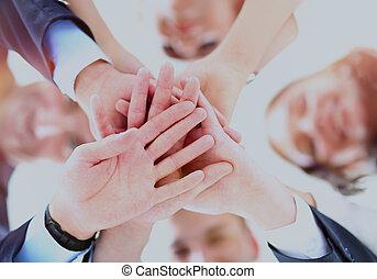 ufficio, persone affari, mani, cerchio, accoppiamento