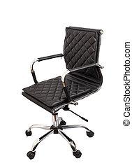 ufficio, poltrona cuoio, isolato, sfondo nero, bianco
