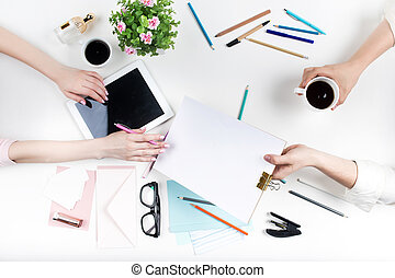 ufficio., posto lavoro, technology.