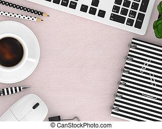 ufficio, render, cima, workspace, vista, attrezzi, 3d