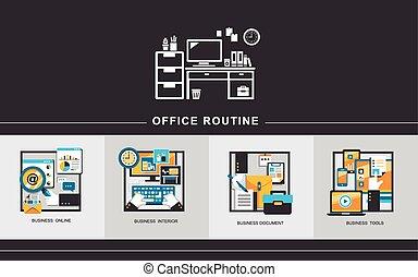 ufficio, routine, concetto, in, appartamento, disegno
