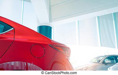 ufficio., sala esposizione, closeup, lusso, porta, automobile., baluginante, parcheggiato, rosso, industry., nuovo, automobile, concept., serbatoio combustibile, automobile, leasing, sale., automobilistico, moderno, concessionario