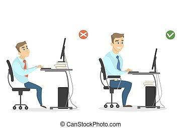Posizione Scrivania Ufficio : Ufficio seduta posizione scrivania corretto posa ufficio