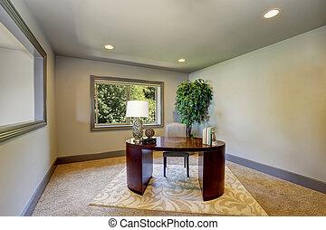 ufficio, semplice, borgogna, scrivania legno, interno, casa