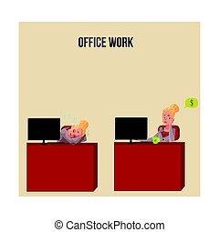ufficio, snoozing, pensare, soldi, giovane, donna d'affari, scrivania, segretario