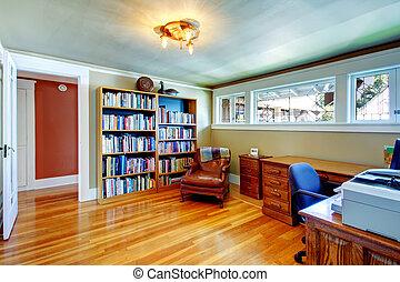 ufficio, stanza, con, anticaglia, stile, mobilia