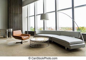 ufficio, stanza moderna, costruendo interno, salotto