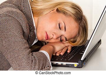 ufficio., stress, fatica, sofa., ufficio