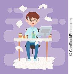 ufficio, stress, lavoro, esaurito, seduta, uomo affari