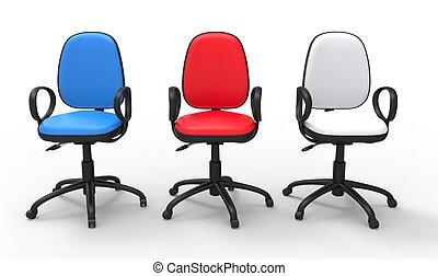 ufficio, variopinto, sedie