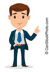 ufficio, vestiti affari, esposizione, carattere, giovane, cartone animato, something., completo, uomo affari, uomo, style., far male, bello