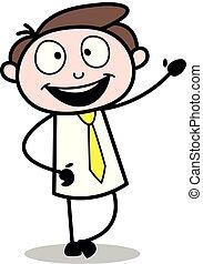ufficio, -, vettore, illustration?, presentare, impiegato, uomo affari, riunione, cartone animato