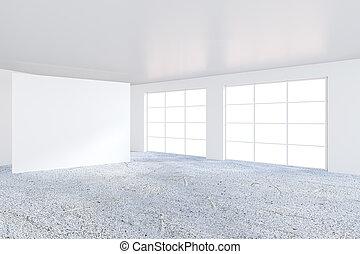 ufficio, wall., interpretazione, tabellone, bianco, vuoto, 3d