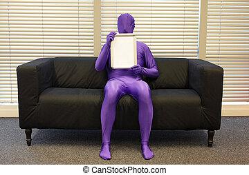 ufficio, -, whiteboard, vuoto, seduta, uomo, messaggero, divano