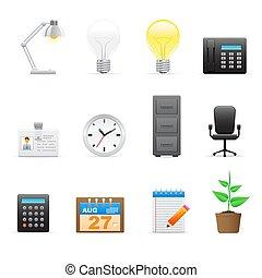 ufficio, (workplace), icone, set
