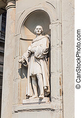 uffizi, piero, degli, italy., piazzale, toscana, estatua, florencia, museo, capponi, galería, uffizi