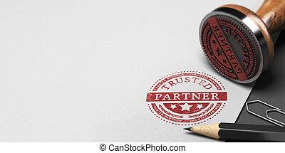 ufność, towarzysz, współudział, trusted, handlowy