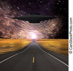 ufo, 現れる, 上に, 道