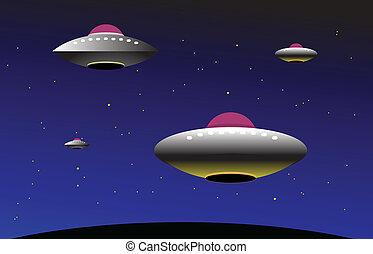 ufo, 顏色, 矢量, 插圖