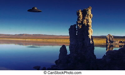 UFO 004: Stock video of a UFO flying over Mono Lake.