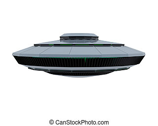 An isolated bluish ufo on white background