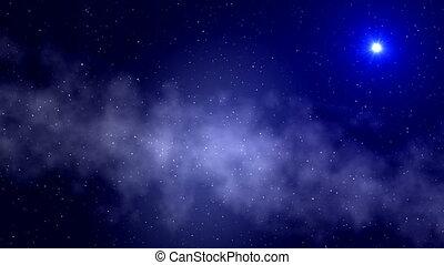 UFO. A fog. Stars.