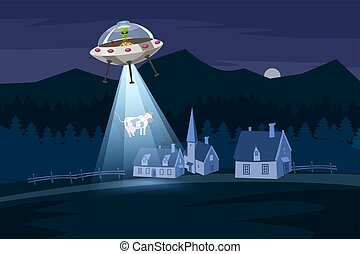UFO abducting a cow, summer night farm landscape, in the night field with houses, vector background with stars and moon in the sky. Cartoon style, isolated