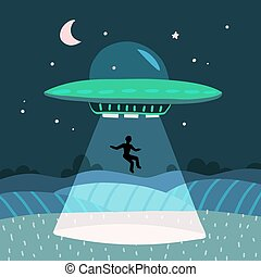 UFO abducting a men, summer night farm landscape in the night field. Vector background with stars and moon in the sky. Flat vector illustration
