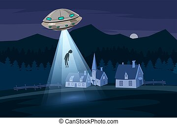 UFO abducting a men, summer night farm landscape, in the night field with houses, vector background with stars and moon in the sky. Cartoon style, isolated