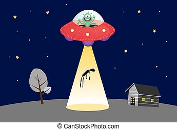 UFO abducts human silhouette