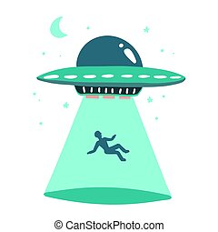UFO abducts human. Space ship UFO ray of light Vector illustration in flat style isolated on white background. Hand drawn print concept.