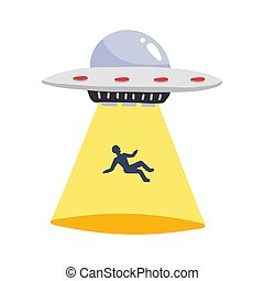 UFO abducts human. Spaceship UFO ray of light with man silhouette . Vector illustration in flat style