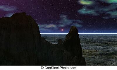 UFO against rocks