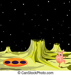 UFO alien flying saucer on another planet - vector illustration in a cartoon style. (UFO vector series)