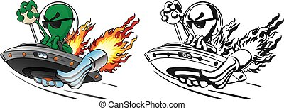 UFO alien hot rod flying saucer with huge exhaust pipes, stick shift, flames, and a cool alien pilot, isolated vector illustration in full color and black line art drawing for easy editing.