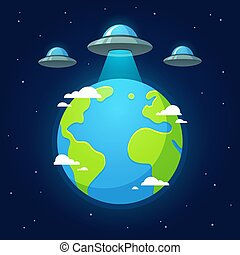 UFO alien invasion - Alien invasion, flying saucer ufos...