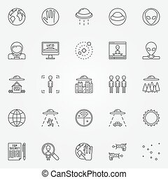 UFO and alien icons set