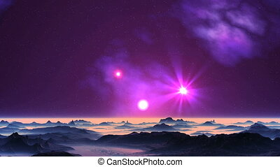 UFO and Sunrise on Alien Planet