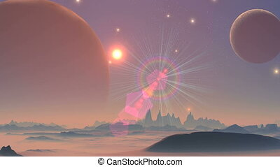 UFO and two moons - The starry night sky two enormous planet...