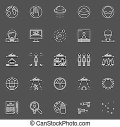 UFO and ufology line icons