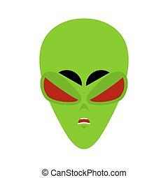 UFO angry Emoji. Green alien face Aggressive emotion. martian avatar