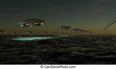 UFO Array flying in formation - Array of extraterrestrial...