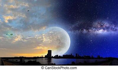 UFO at sunset and night