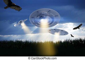 UFO Attack Illustration. Three UFOs Above Corn Field...